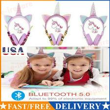 Bluetooth 5.0 Wireless Unicorn Ear Headsets Led w/Mic Headphones For Kids Girls√