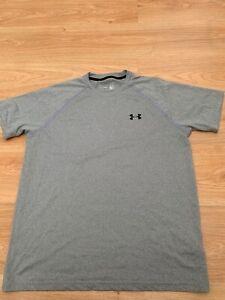 Medium Mens Under Armour Training Tech Running Gym T-Shirt Top in Grey / 99p !!