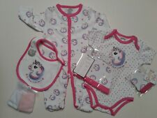Baby girls  clothes 7 piece set unicorn baby grow layette 0-3 3-6 months
