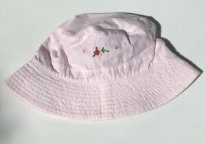 NEW Vintage Reversible Baby GAP Pink Gingham Sun HAT Newborn XS S 0-3-6 mo NWT