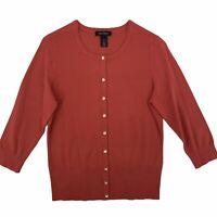 White House Black Market 3/4 Sleeve Snap Front Cardigan Sweater Womens Medium