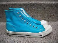 Vintage Trax Teal Blue High Top Shoes Sneakers Men's Kicks Size 7.5 Made in USA