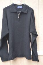 John Ashford, size L, lambswool Black,1/4 zip pullover collared sweater Men's