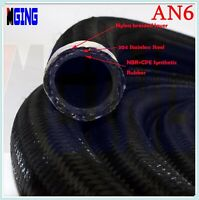 AN6 AN 6 6-AN Nylon Stainless Steel Braided Fuel Line Hose Oil Gas 20FT