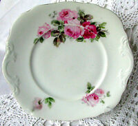 Circa 1800s Pink Roses Cake Plate Made in France
