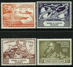 Turks & Caicos Is. 1949 UPU set Mint Lightly Hinged Fresh Gum