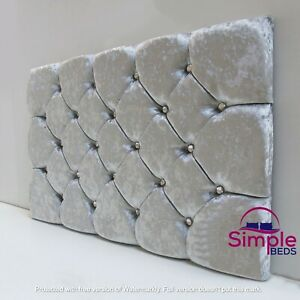 Super Padded Headboard In Crushed Velvet - Single, Double, King - 24""