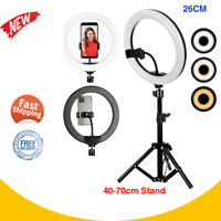 "26cm/10"" LED Ring Light Dim Video Beauty Makeup Live w/ 70cm Tripod Stand Kit"