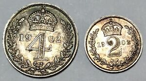 1902 EDWARD VII SILVER MAUNDY FOUR PENCE & TWO PENCE aUNC AMAZING DETAIL