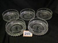 """Set Of 5 Vintage 4.5"""" Pressed Diamond Glass Dishes / Dessert Fruit Salad Bowls"""