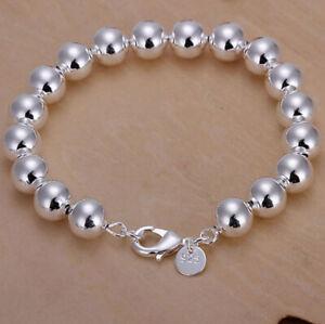 925 Sterling Silver 8mm Beaded Bracelet Ball Bead Bangle Bracelet UK Seller