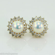 DESIGNER! LARGE WHITE MABE PEARL 5.00 CT. HALO DIAMOND EARRINGS 18K YELLOW GOLD