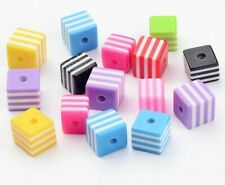 100 Candy Stripe Cube Beads Mixed Colours Resin 8mm Brights