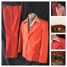 Vtg 70s Rust Red Hipster Disco Leisure Suit Paisley Shirt Xl 44L 34x32 Pants