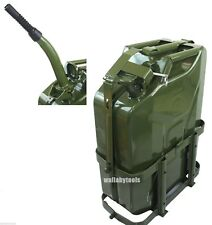 Jerry Gas Can Fuel Tank Steel 5 Gallon 20L Nato Style Military Green w/ Holder