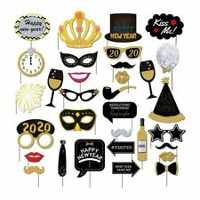 32PCS 2020 New Year's Eve Party Card Masks Photo Booth Props Supply Decorations