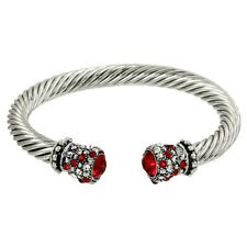 Crystal Tip Bracelet Twisted Metal Cuff Silver RED Pave Stone Chunky Cable