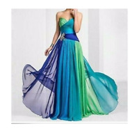 Women Chiffon Bridesmaid Off Shoulder Prom Party Gown Evening Long Dresses Solid