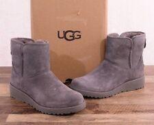 UGG Australia Kristin Suede Sheepskin Boots Size 7 MED 1012497 Grey Boot Wedge