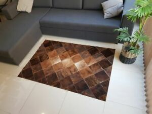 PATCHWORK COWHIDE RUG CARPET AREA LEATHER COW HIDE HAIR ON BRINDLE 6ftx4ft