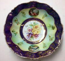 RS PRUSSIA Saxe Altenburg BOWL Steeple Mold 8 Iridescent Flowers Figures BONUS