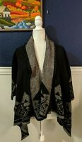 Adrianna Vittadini Black Gray Aztec Southwestern Open Cardigan Jacket Wool L/XL