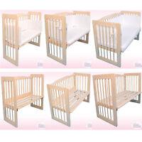 BEISTELLBETT NATURHOLZ -babys-deam- 90x40cm / 100x50cm / 120x60cm KOMPLETTSET