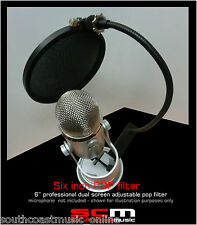 "6"" DUAL LAYER ADJUSTABLE POP FILTER IMPROVE YOUR PODCAST & RECORDING FREE P+H"