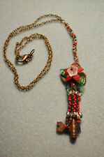 BEADED SKELETON KEY CHRISTMAS NECKLACE Red & Green Beads & Flower FREE SHIPPING!