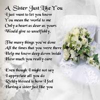 Personalised Coaster - Sister  Poem - Wedding Bouquet  +  FREE GIFT BOX