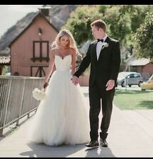 UK Spaghetti Strap White/Ivory Beach Wedding Dress Bridal Ball Gown Size 6-20