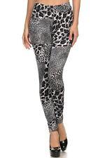 NEW VELOUR ANIMAL,LEOPARD PRINT BLACK+WHITE STRETCHY PANTS ,LEGGINGS-827PT657