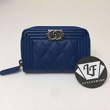 Auth Chanel Boy Zip Around Coin Purse Card Holder Case Blue Caviar Ruthenium HW