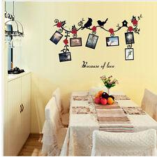 Lovely Home Decals Decor Family Photo Frame Mural Flower Birds Wall Sticker