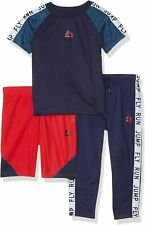 Rbx Boys' 3 Piece Performance Top, Short & Pant Set (Midnight Navy/Red, Size 10)