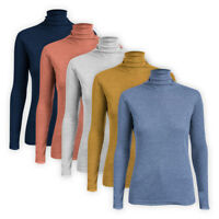 Womens Ladies Stretch Pure Cotton Ribbed Jumper Turtle High Roll Polo Neck Top