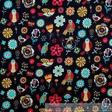 BonEful Fabric FQ Cotton Quilt Black Red Aqua Blue Mexican Flower Bird Folk Art