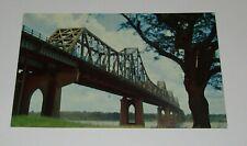 Mississippi River Bridge Postcard Baton Rouge Louisiana Serves Railroad and Cars
