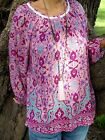 NWT PLUS SIZE Pink Paper Fig Boho Top Size 10-12-14-16-18-20-22- 24