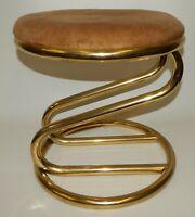 "Vtg Mid Century Hollywood Regency Round Upholstered Gold Vanity Stool ""S"" Curve"