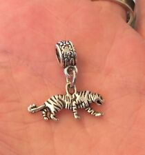 SILVER TONE 3D TIGER CHARM AND BRACELET BAIL BEAD