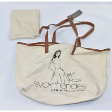 New York & Co. Eva Mendes Canvas Tote Bag + Clutch NWT Beige Brown