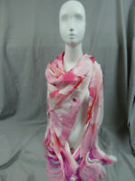 Mimco Pink Floral Scarf Viscose Silk Blend