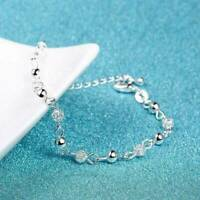 925 Silver Ball Crystal Chain Bangle Cuff Charm Bracelet Women Christmas Jewelry