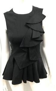 New! CUE black stretch cotton ruffle peplum top ~ sz 6