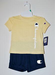 NWT Champion Infant Boys Yellow Navy Logo SS Shirt & Shorts 2pc Set sz 18M 24M
