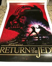 Dave Prowse Ian McDiarmid Drew Struzan signed Star Wars ROTJ canvas movie poster
