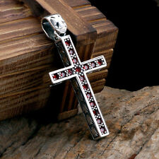 Mens Womens Garnet Gem Cross 925 Sterling Silver Pendant With Black Rope Chain