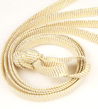 Flat Coloured Silver Fashion Shoelaces - Approx 110cm Gold & White Laces