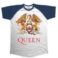 Official QUEEN Classic Crest Raglan T-shirt NEW All Sizes Freddie Mercury Logo